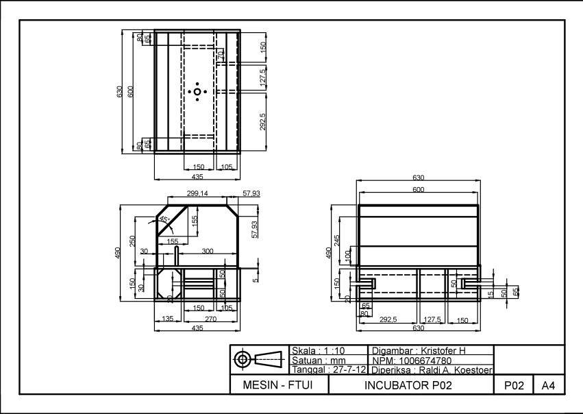 Desain gambar teknis adaptasi  dari inkubator Grashof
